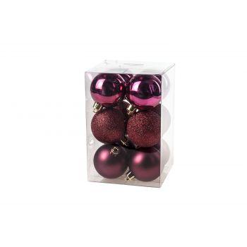 Cosy @ Home Ball Plastic Set12 Burgundy D6cm