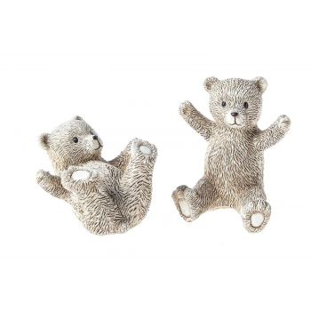 Cosy @ Home Bear Sitting Set2 Beige Resine 8x8xh10,5