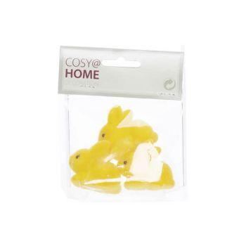 Cosy @ Home Rabbit Set3 Flocked Yellow 4,5x2xh4cm