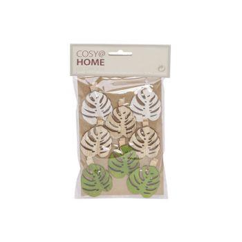 Cosy @ Home Clip Set8 Leaf 5cm Wood