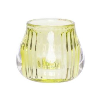 Cosy @ Home Tealight Holder Fluo Green 8x8xh6,8cm Gl