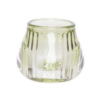 Cosy @ Home Tealight Holder Green 8x8xh6,8cm Glass