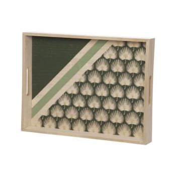 Cosy @ Home Tray Palm Dark Green 40x30xh5cm Wood