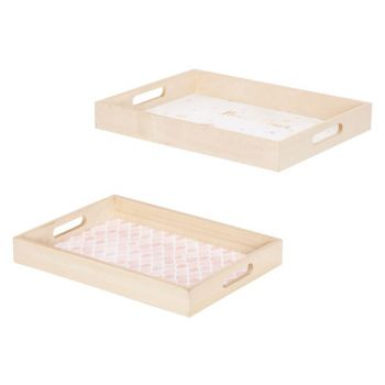 Cosy @ Home Tray Set2 Flower Pink 40x30xh5cm Rectang
