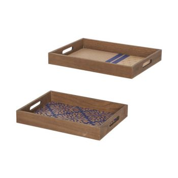 Cosy @ Home Tray Set2 Gold Blue 40x29,5xh5cm Rectang