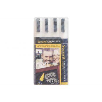 Securit Chalkmarker Set4 Liquid White 2-6mm