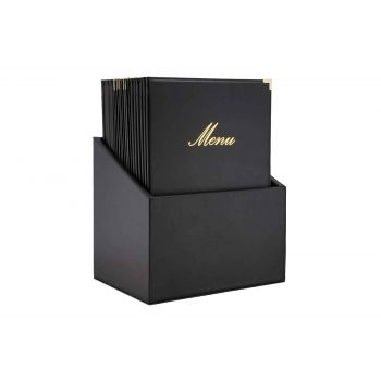 Securit Classic 20x Menuholder In Box Black A4
