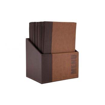 Securit Trendy 20x Menuholder In Box A4 Brown