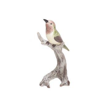 Cosy @ Home Bird On Trunc Green Brown 9x7xh19,5cm