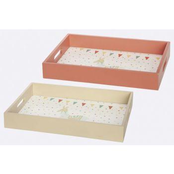 Cosy @ Home Tray Set2 Lama Pink 40x30xh5,5cm Rectang