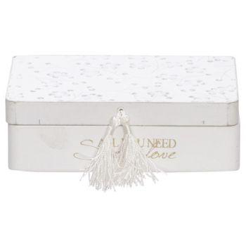 Cosy @ Home Box Flower White 16,5x12xh5cm Rectangula