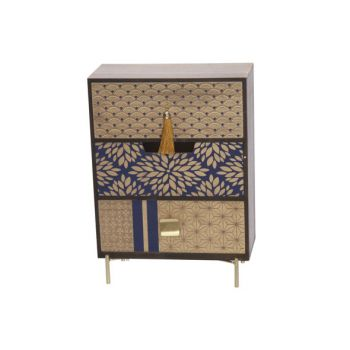 Cosy @ Home Cabinet Gold Blue 25x12,5xh34cm Wood