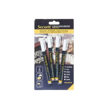 Securit Chalkmarker Set4 Liquid White 1-2mm