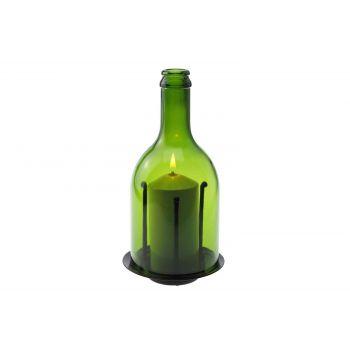 Candola Ino Candleholder Glass Green H20.5cm