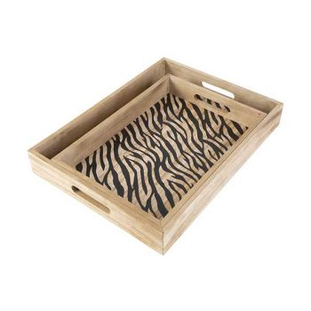 Cosy @ Home Tray Set2 Zebra Black Nature 40x30xh5cm