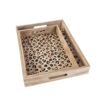 Cosy @ Home Tray Leopard Set2 Black 40x30xh5cm