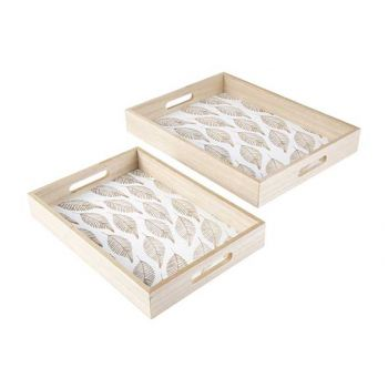 Cosy @ Home Tray Set2 Leafs Nature 40x30xh5cm Wood