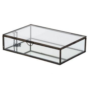 Cosy @ Home Box Glass Black 28x18,8xh6,8cm Metal