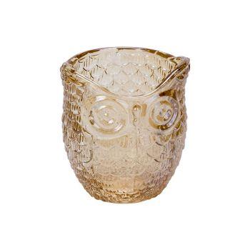 Cosy @ Home Tealight Holder Owl Orange 7x7xh9cm Glas