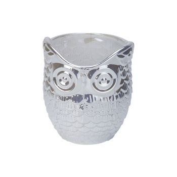 Cosy @ Home Tealight Holder Owl Pearl White 7x7xh9cm