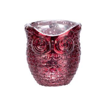 Cosy @ Home Tealight Holder Owl Burgundy 7x7xh9cm Gl