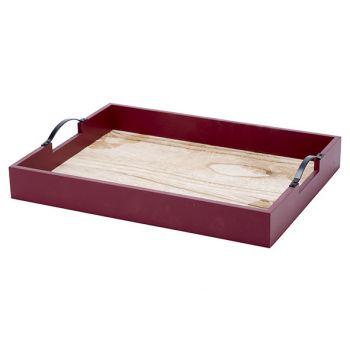 Cosy @ Home Tray Burgundy 39x29xh6,4cm Wood