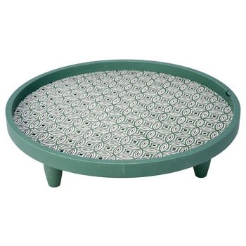 Cosy @ Home Tray Green 40x40xh11,5cm Round Wood