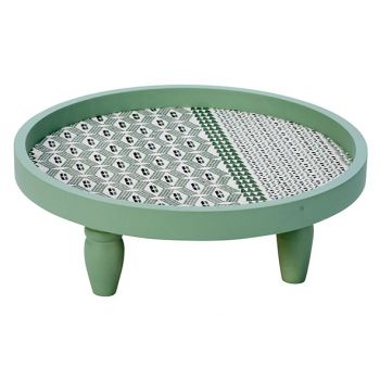 Cosy @ Home Tray Green 30x30xh11cm Round Wood