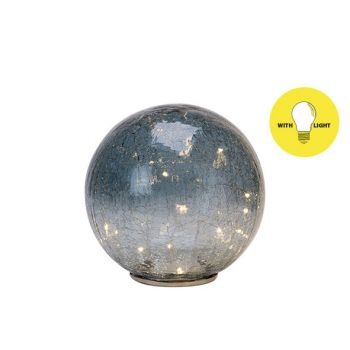 Cosy @ Home Ball Led Grey Blue 20x20xh43cm Glass