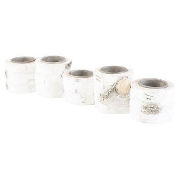 Cosy @ Home Tealight Holder Burch White 33x7xh6,6cm