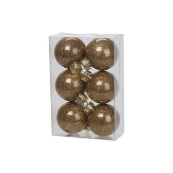 Cosy @ Home Xmas Ball Set6 Twinkle Gold D6cm Syn