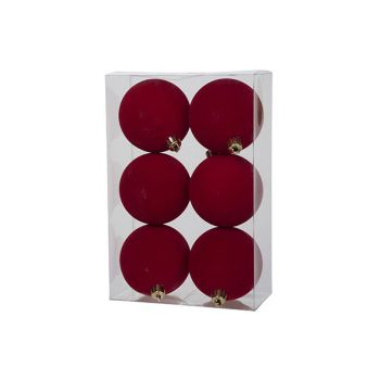 Cosy @ Home Xmas Ball Set6 Velours Red D8cm Syntheti
