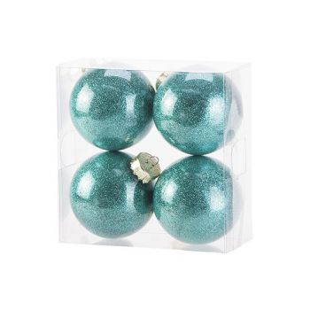 Cosy @ Home Xmas Ball Set4 Twinkle Bright Green D8cm