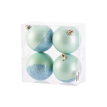 Cosy @ Home Xmas Ball Set4 Mat Glitter Mint D8cm Syn