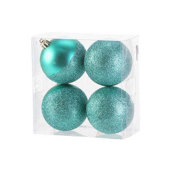 Cosy @ Home Xmas Ball Set4 Mat Glitter Bright Green