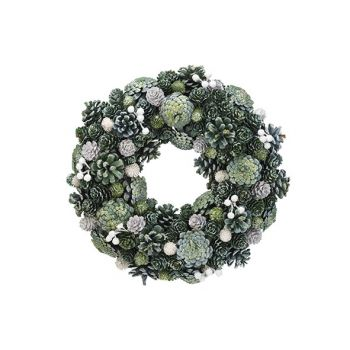 Cosy @ Home Xmas Wreath Glitter Pin Cone Green 34x34