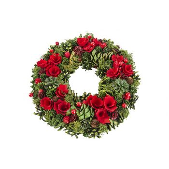 Cosy @ Home Xmas Wreath Red Green 34x34xh8,5cm