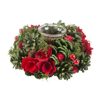 Cosy @ Home Xmas Arrangement 1 Glass Red Green 19x19