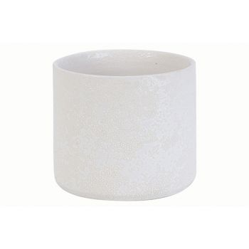 Cosy @ Home Flowerpot Rough White 18x18xh16cm Cylind