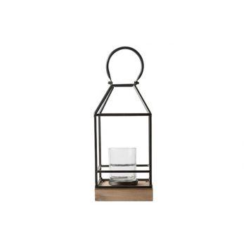 Cosy @ Home Lantern Wooden Base Black 15x15xh32cm Me