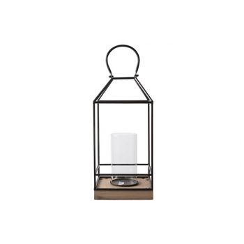 Cosy @ Home Lantern Wooden Base Black 30x40xh5cm Met
