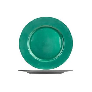 Cosy @ Home Plate Glossy Green 33x33xh2cm Round Synt