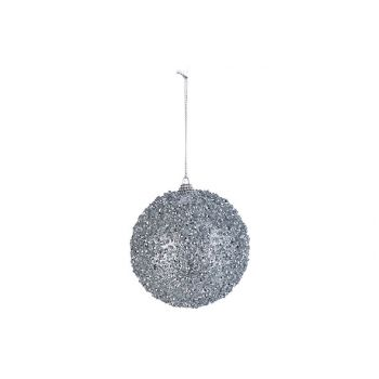 Cosy @ Home Xmas Ball Glitter Silver D10cm Synthetic
