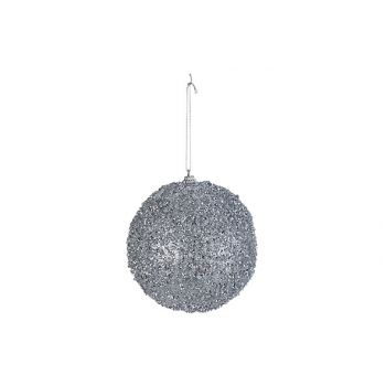 Cosy @ Home Xmas Ball Glitter Silver D12cm Synthetic
