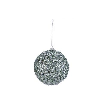 Cosy @ Home Xmas Ball Pearls Silver Mint D10cm Synth