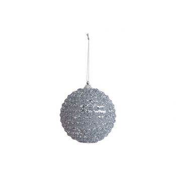 Cosy @ Home Xmas Ball Rope Glitter Silver D10cm Synt
