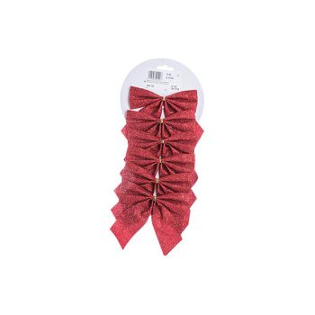 Cosy @ Home Bows Set6  Glitter  Red 11x11cm