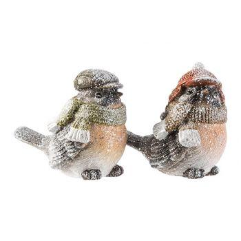 Cosy @ Home Bird Winter 2 Types 10x6xh8,5cm Polyresin
