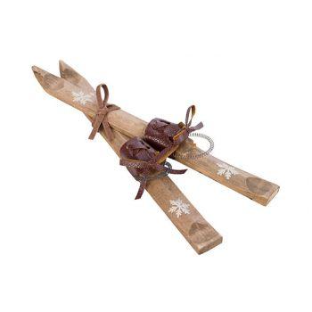 Cosy @ Home Skis X2 Ornament Beige 5x1,5xh23cm Wood