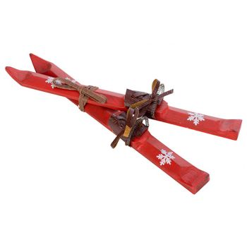Cosy @ Home Skis X2 Ornament Red 5x1,5xh23cm Wood
